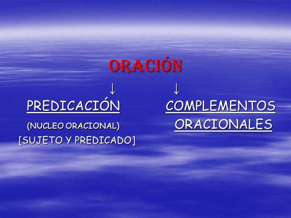 ORACIÓN ↓ ↓ PREDICACIÓN COMPLEMENTOS [SUJETO Y PREDICADO]